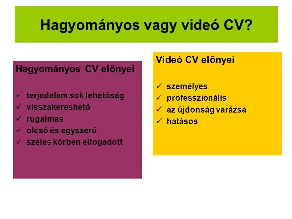 Hagyományos vagy videó CV? Hagyományos CV előnyei  terjedelem sok lehetőség  visszakereshető  rugalmas  olcsó és egyszerű  széles körben elfogado