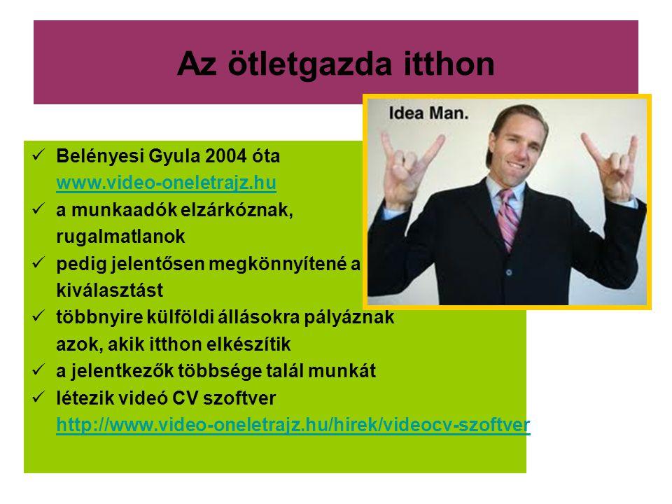 Az ötletgazda itthon  Belényesi Gyula 2004 óta www.video-oneletrajz.hu  a munkaadók elzárkóznak, rugalmatlanok  pedig jelentősen megkönnyítené a ki