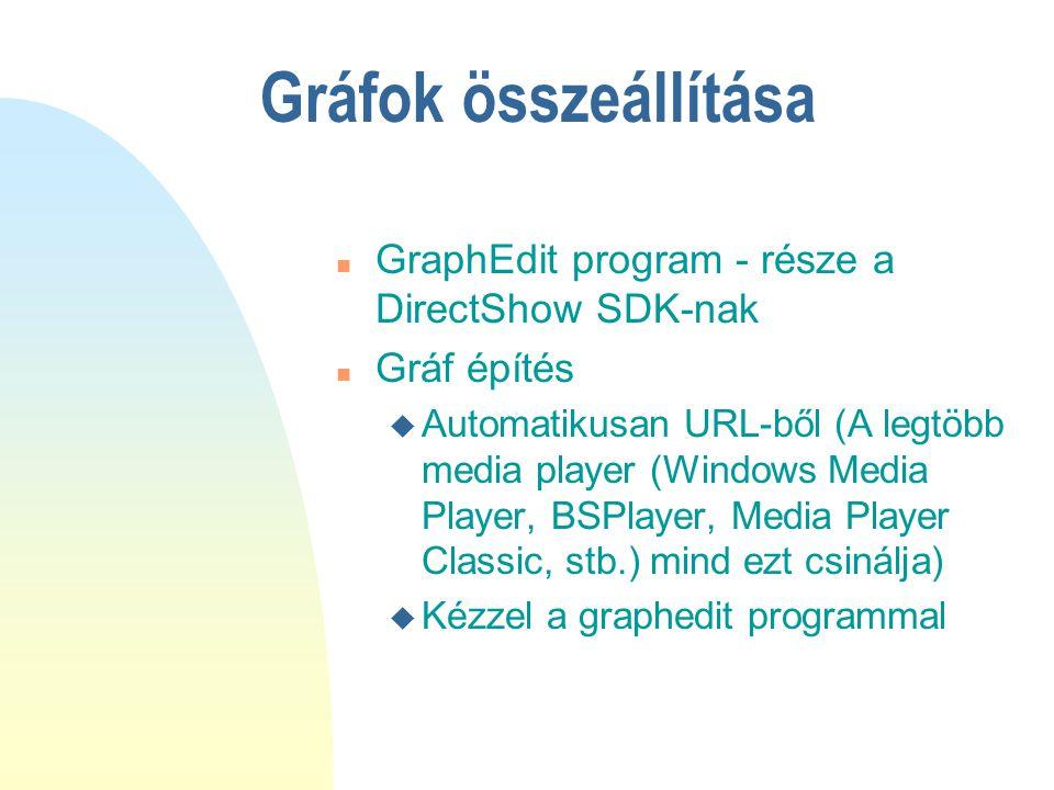 Gráfok összeállítása n GraphEdit program - része a DirectShow SDK-nak n Gráf építés u Automatikusan URL-ből (A legtöbb media player (Windows Media Pla