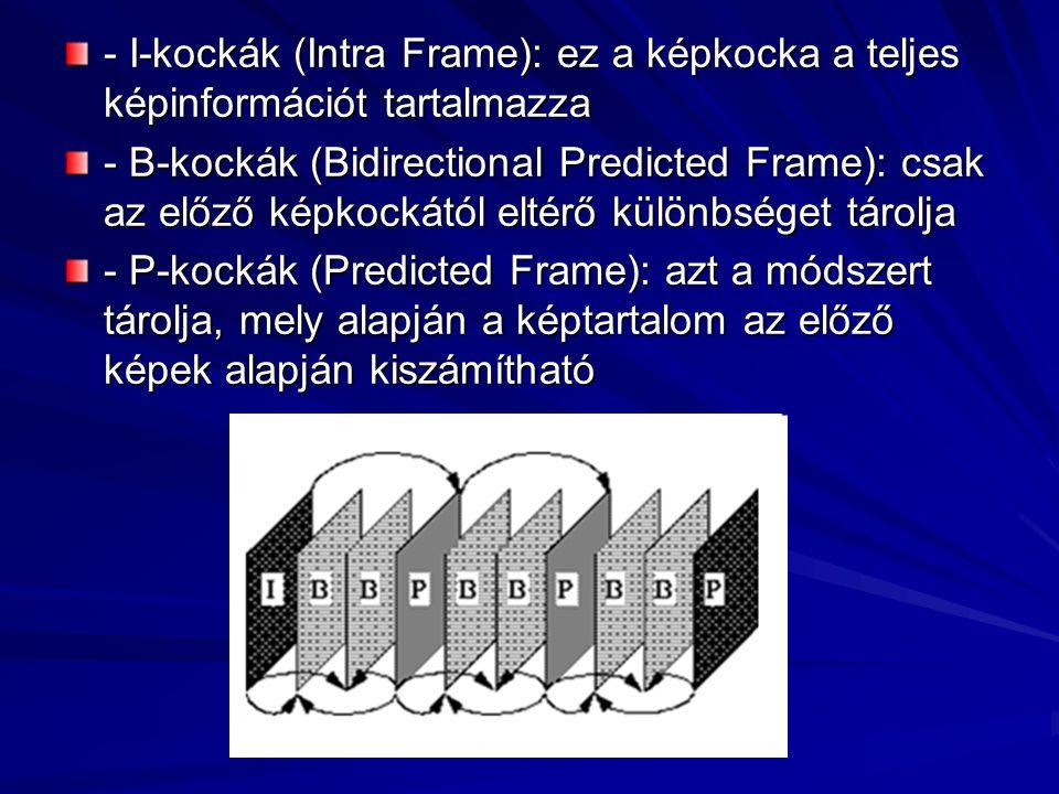 - I-kockák (Intra Frame): ez a képkocka a teljes képinformációt tartalmazza - B-kockák (Bidirectional Predicted Frame): csak az előző képkockától elté