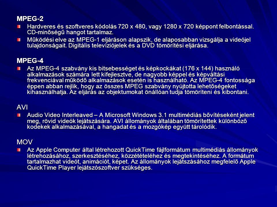 MPEG-2 Hardveres és szoftveres kódolás 720 x 480, vagy 1280 x 720 képpont felbontással. CD-minőségű hangot tartalmaz. Működési elve az MPEG-1 eljáráso