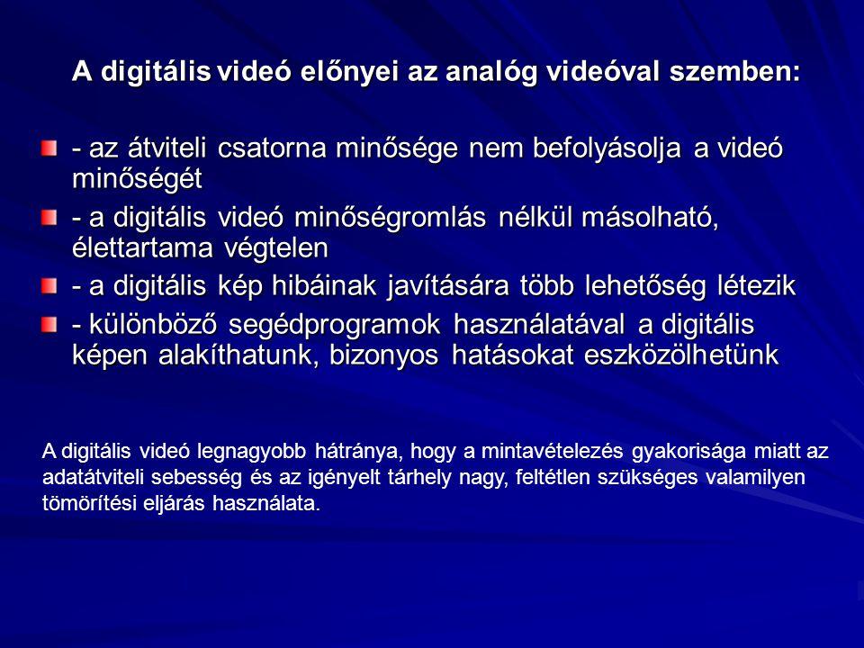 A digitális videó előnyei az analóg videóval szemben: - az átviteli csatorna minősége nem befolyásolja a videó minőségét - a digitális videó minőségro