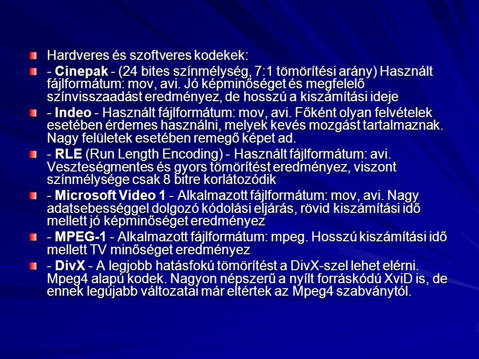 Hardveres és szoftveres kodekek: - Cinepak - (24 bites színmélység, 7:1 tömörítési arány) Használt fájlformátum: mov, avi. Jó képminőséget és megfelel