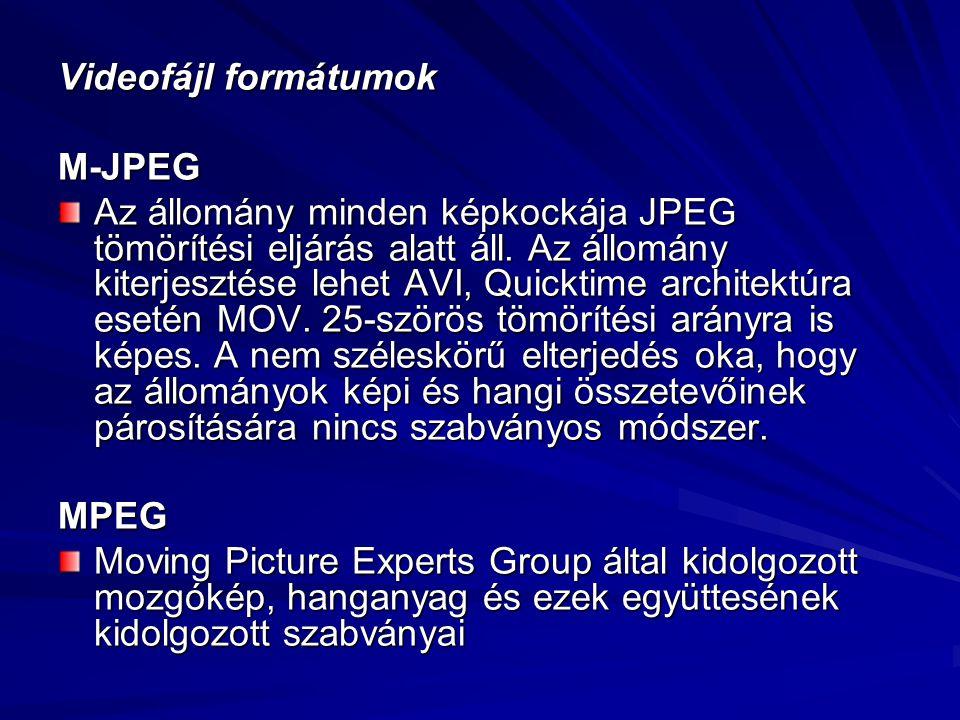 Videofájl formátumok M-JPEG Az állomány minden képkockája JPEG tömörítési eljárás alatt áll. Az állomány kiterjesztése lehet AVI, Quicktime architektú