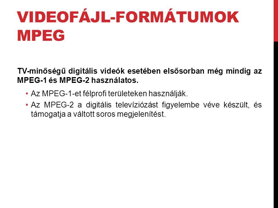VIDEOFÁJL-FORMÁTUMOK MPEG TV-minőségű digitális videók esetében elsősorban még mindig az MPEG-1 és MPEG-2 használatos. •Az MPEG-1-et félprofi területe