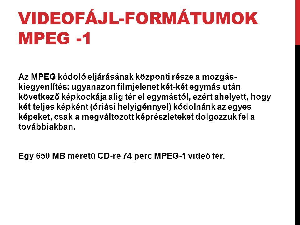 VIDEOFÁJL-FORMÁTUMOK MPEG -1 Az MPEG kódoló eljárásának központi része a mozgás- kiegyenlítés: ugyanazon filmjelenet két-két egymás után következő kép