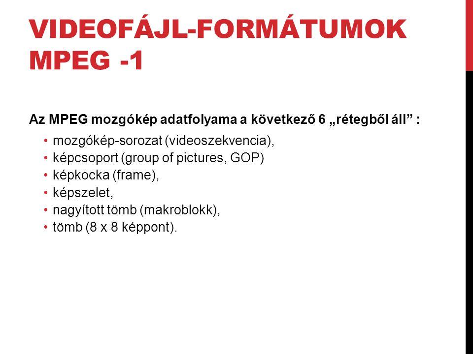 """VIDEOFÁJL-FORMÁTUMOK MPEG -1 Az MPEG mozgókép adatfolyama a következő 6 """"rétegből áll"""" : •mozgókép-sorozat (videoszekvencia), •képcsoport (group of pi"""