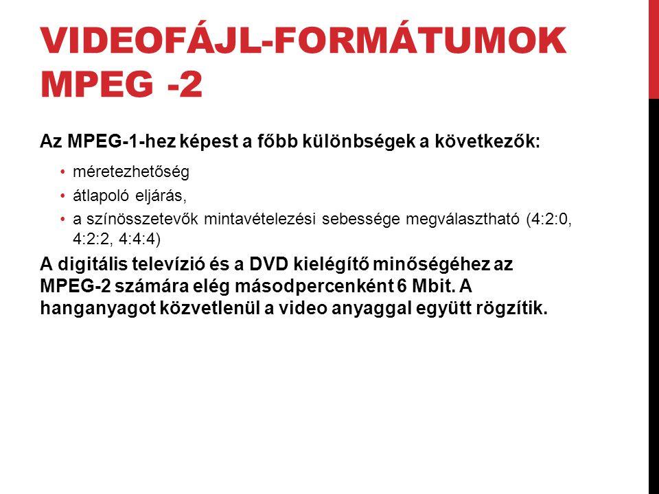 VIDEOFÁJL-FORMÁTUMOK MPEG -2 Az MPEG-1-hez képest a főbb különbségek a következők: •méretezhetőség •átlapoló eljárás, •a színösszetevők mintavételezés