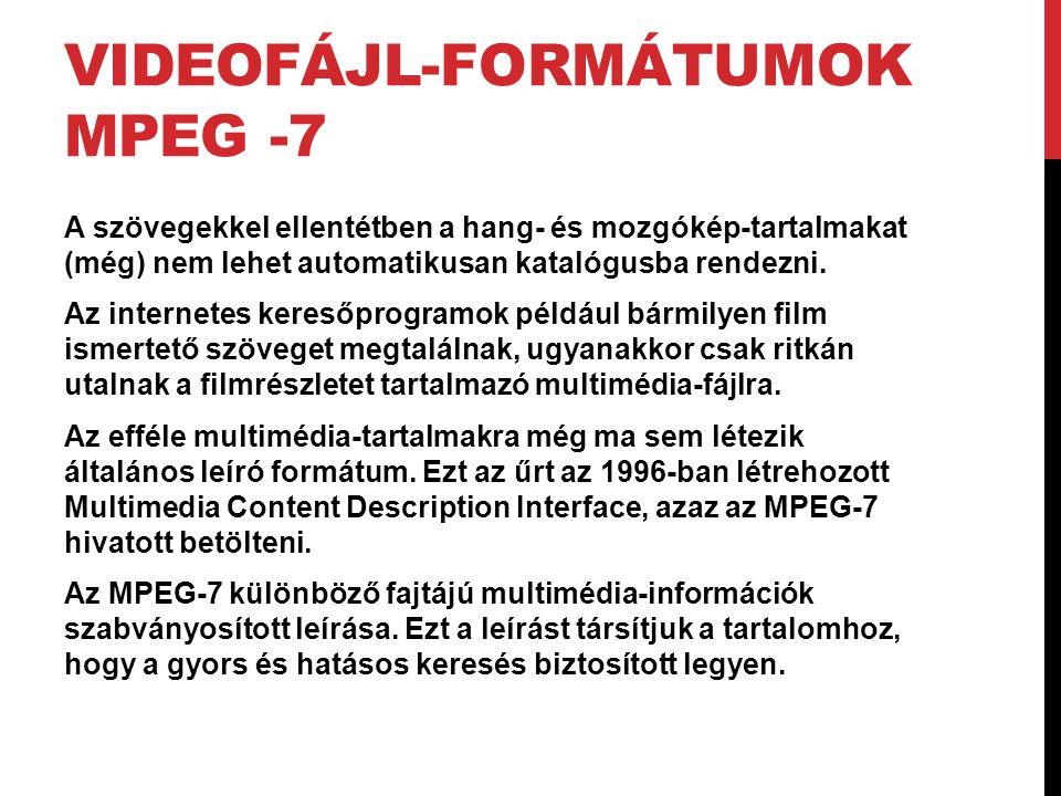 VIDEOFÁJL-FORMÁTUMOK MPEG -7 A szövegekkel ellentétben a hang- és mozgókép-tartalmakat (még) nem lehet automatikusan katalógusba rendezni. Az internet
