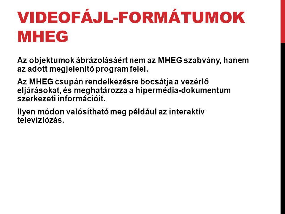 VIDEOFÁJL-FORMÁTUMOK MHEG Az objektumok ábrázolásáért nem az MHEG szabvány, hanem az adott megjelenítő program felel. Az MHEG csupán rendelkezésre boc