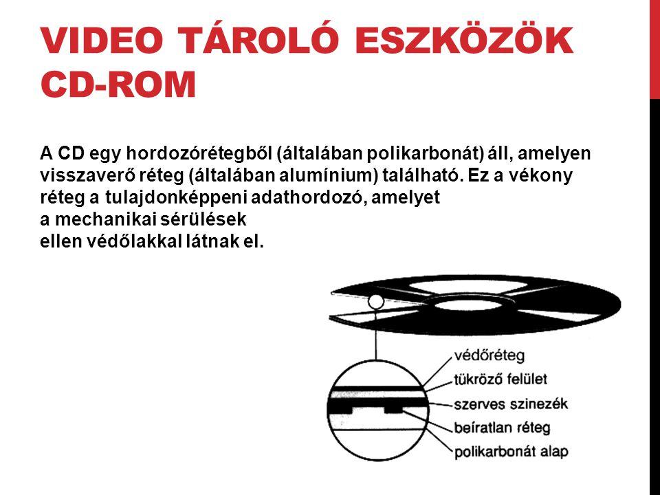 VIDEO TÁROLÓ ESZKÖZÖK CD-ROM A CD egy hordozórétegből (általában polikarbonát) áll, amelyen visszaverő réteg (általában alumínium) található. Ez a vék