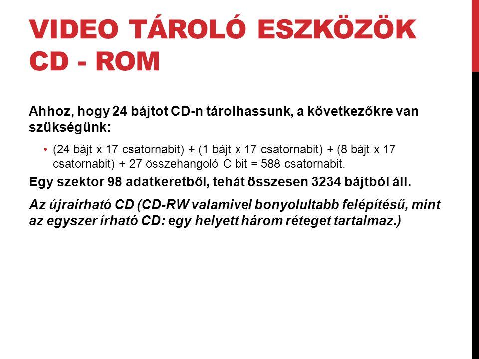 VIDEO TÁROLÓ ESZKÖZÖK CD - ROM Ahhoz, hogy 24 bájtot CD-n tárolhassunk, a következőkre van szükségünk: •(24 bájt x 17 csatornabit) + (1 bájt x 17 csat