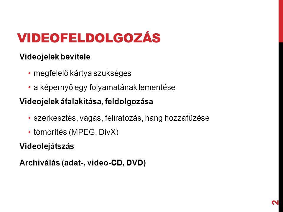 VIDEOFELDOLGOZÁS A filmek általában a következő formátumokban lehetnek jelen a számítógépben: •AVI, MPEG, DivX, … (videofájl) •Video CD •DVD 3