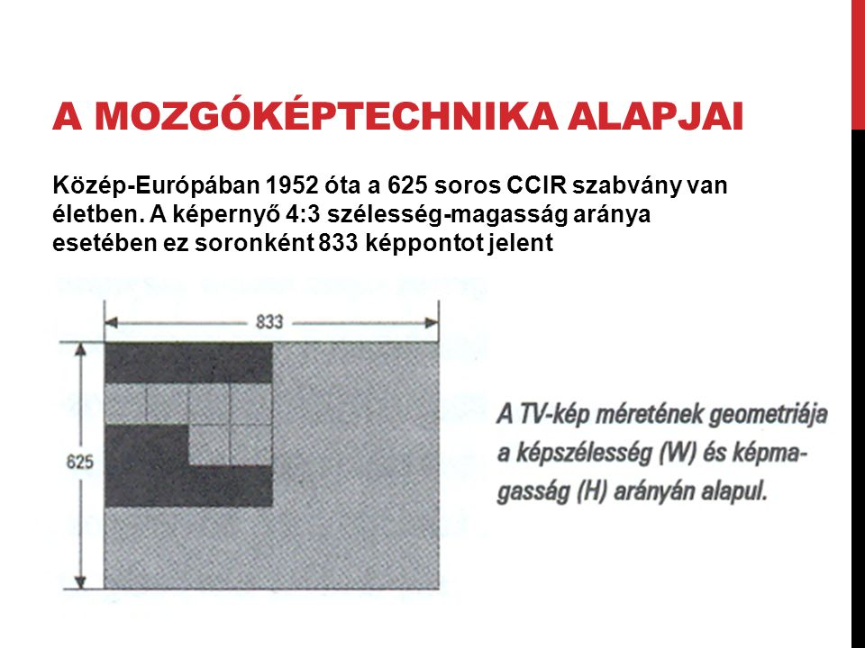A MOZGÓKÉPTECHNIKA ALAPJAI Közép-Európában 1952 óta a 625 soros CCIR szabvány van életben. A képernyő 4:3 szélesség-magasság aránya esetében ez soronk