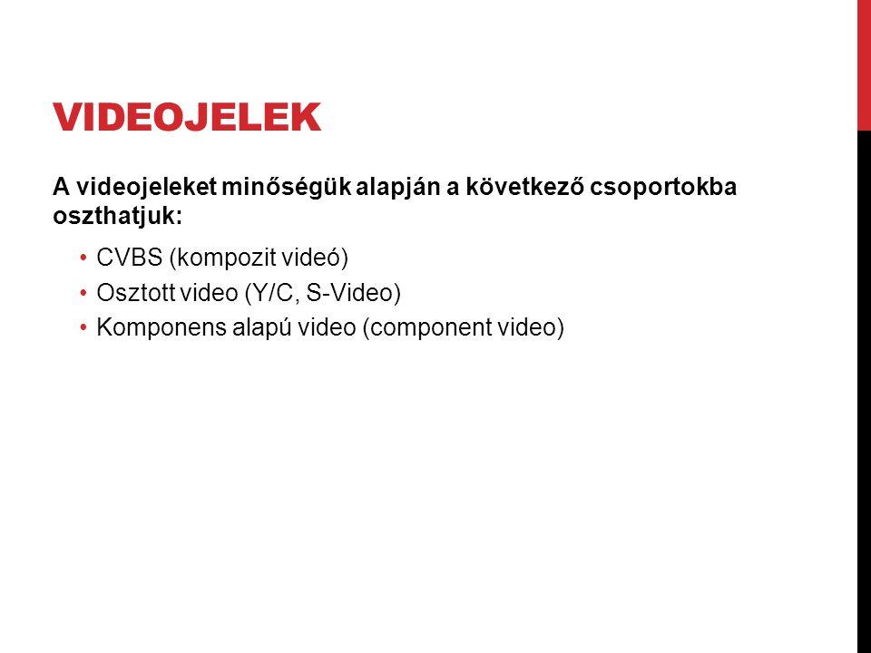 VIDEOJELEK A videojeleket minőségük alapján a következő csoportokba oszthatjuk: •CVBS (kompozit videó) •Osztott video (Y/C, S-Video) •Komponens alapú