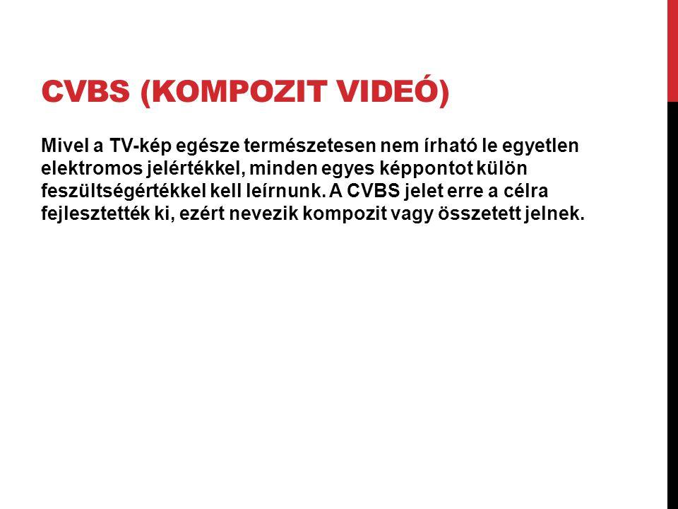 CVBS (KOMPOZIT VIDEÓ) Mivel a TV-kép egésze természetesen nem írható le egyetlen elektromos jelértékkel, minden egyes képpontot külön feszültségértékk