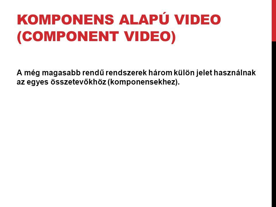 KOMPONENS ALAPÚ VIDEO (COMPONENT VIDEO) A még magasabb rendű rendszerek három külön jelet használnak az egyes összetevőkhöz (komponensekhez).