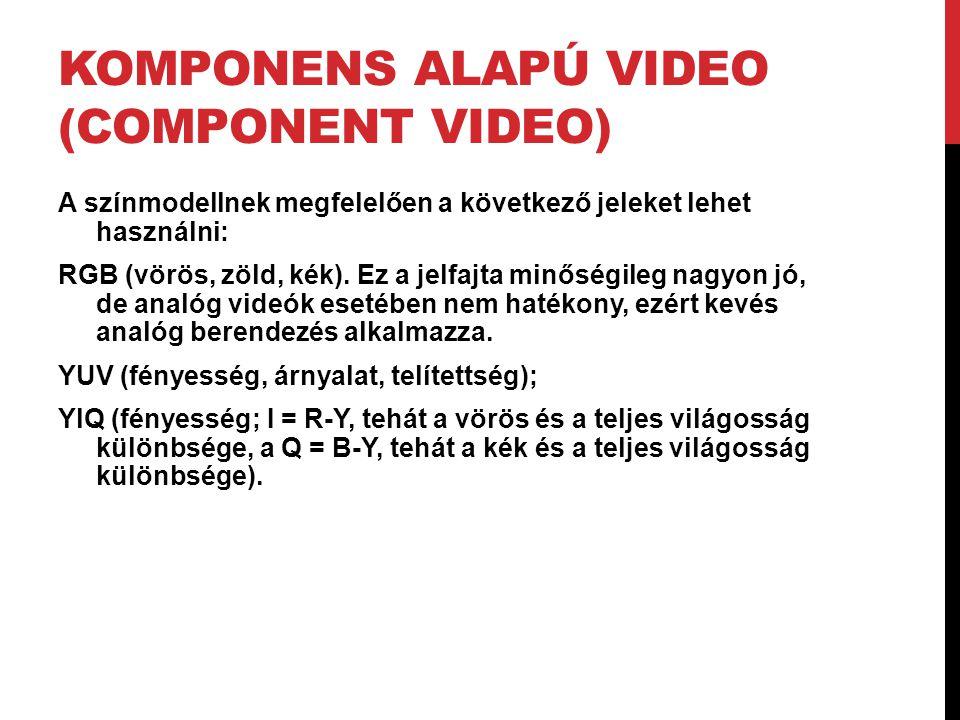 KOMPONENS ALAPÚ VIDEO (COMPONENT VIDEO) A színmodellnek megfelelően a következő jeleket lehet használni: RGB (vörös, zöld, kék). Ez a jelfajta minőség