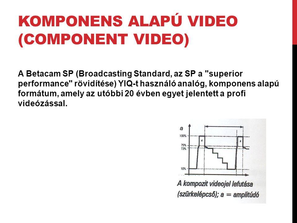 KOMPONENS ALAPÚ VIDEO (COMPONENT VIDEO) A Betacam SP (Broadcasting Standard, az SP a