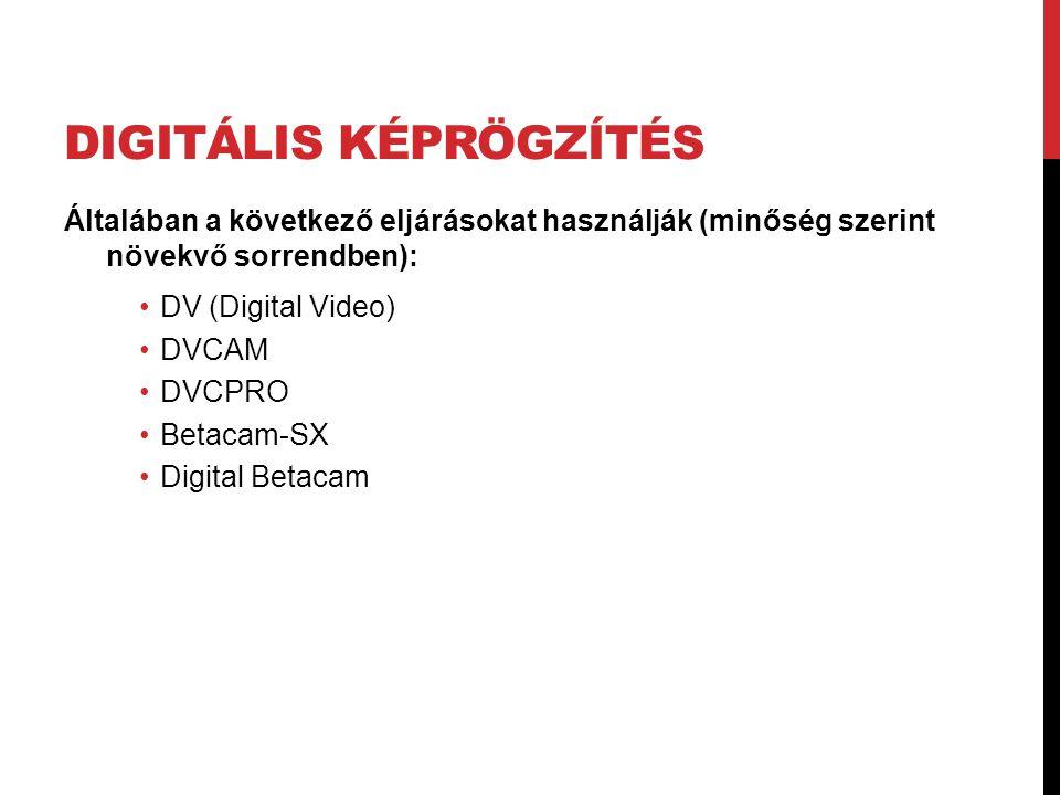DIGITÁLIS KÉPRÖGZÍTÉS Általában a következő eljárásokat használják (minőség szerint növekvő sorrendben): •DV (Digital Video) •DVCAM •DVCPRO •Betacam-S