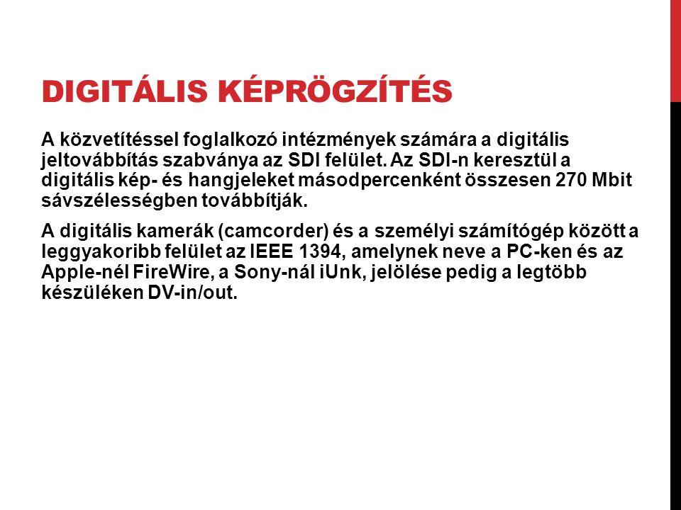 DIGITÁLIS KÉPRÖGZÍTÉS A közvetítéssel foglalkozó intézmények számára a digitális jeltovábbítás szabványa az SDl felület. Az SDI-n keresztül a digitáli