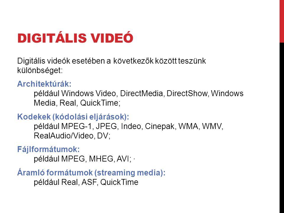DIGITÁLIS VIDEÓ Digitális videók esetében a következők között teszünk különbséget: Architektúrák: például Windows Video, DirectMedia, DirectShow, Wind