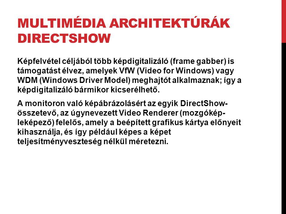 MULTIMÉDIA ARCHITEKTÚRÁK DIRECTSHOW Képfelvétel céljából több képdigitalizáló (frame gabber) is támogatást élvez, amelyek VfW (Video for Windows) vagy
