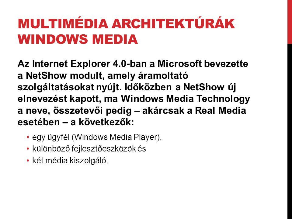 MULTIMÉDIA ARCHITEKTÚRÁK WINDOWS MEDIA Az Internet Explorer 4.0-ban a Microsoft bevezette a NetShow modult, amely áramoltató szolgáltatásokat nyújt. I