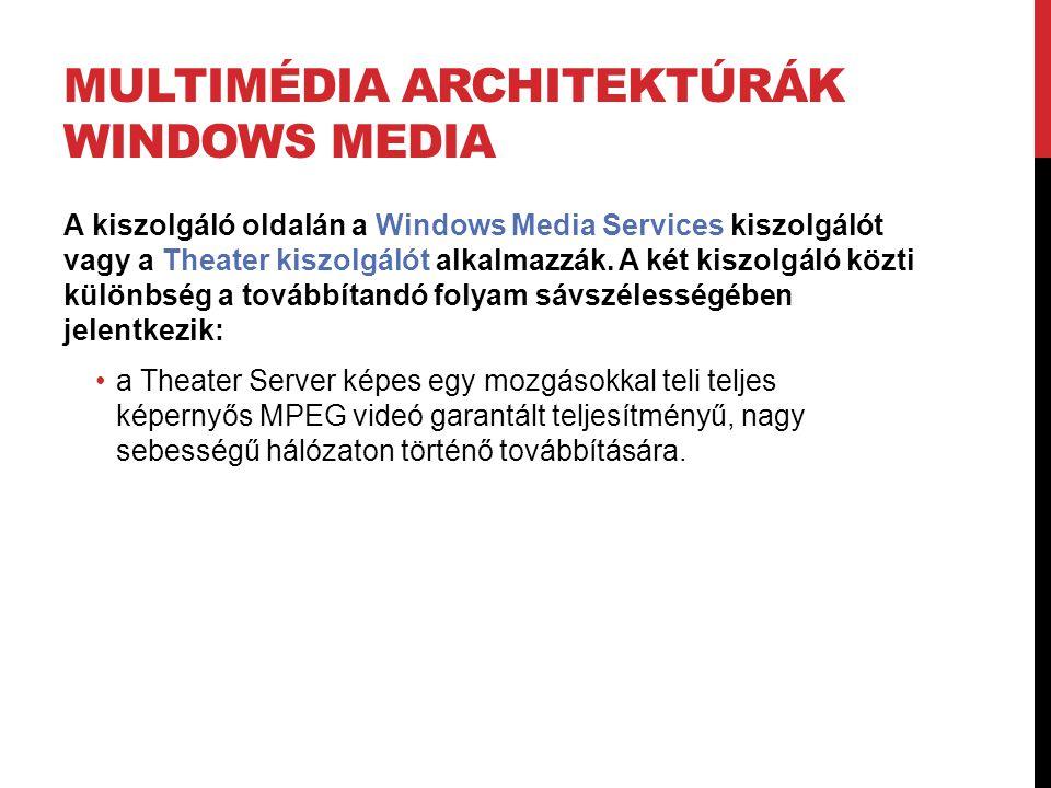 MULTIMÉDIA ARCHITEKTÚRÁK WINDOWS MEDIA A kiszolgáló oldalán a Windows Media Services kiszolgálót vagy a Theater kiszolgálót alkalmazzák. A két kiszolg