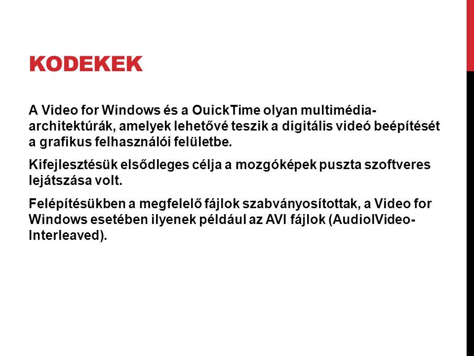 KODEKEK A Video for Windows és a OuickTime olyan multimédia- architektúrák, amelyek lehetővé teszik a digitális videó beépítését a grafikus felhasznál