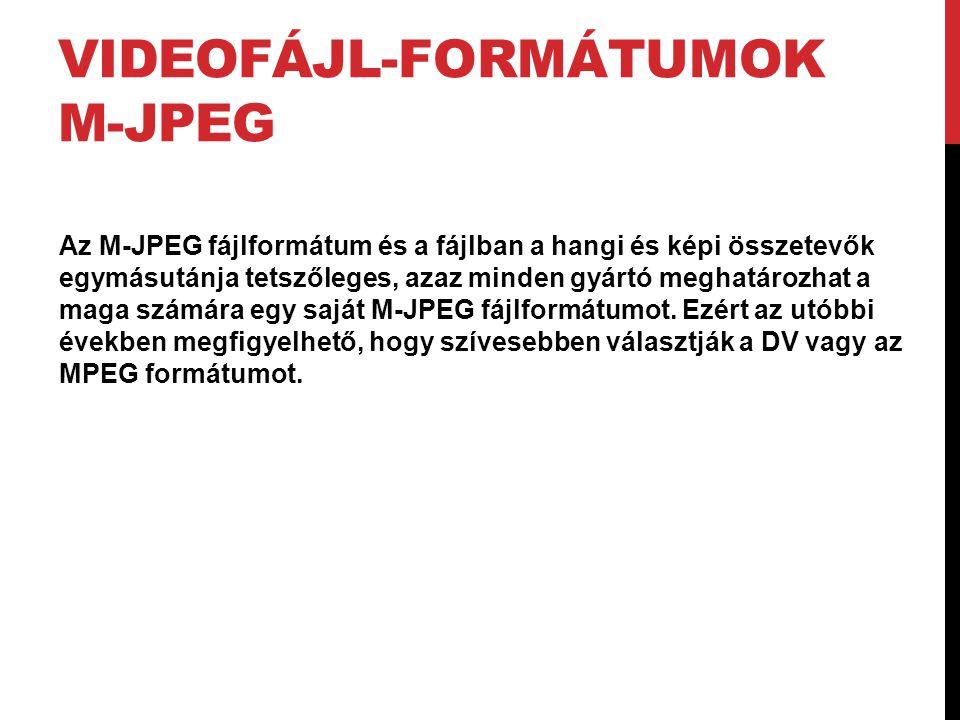 VIDEOFÁJL-FORMÁTUMOK M-JPEG Az M-JPEG fájlformátum és a fájlban a hangi és képi összetevők egymásutánja tetszőleges, azaz minden gyártó meghatározhat