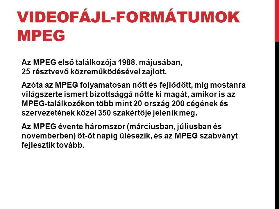 VIDEOFÁJL-FORMÁTUMOK MPEG Az MPEG első találkozója 1988. májusában, 25 résztvevő közreműködésével zajlott. Azóta az MPEG folyamatosan nőtt és fejlődöt