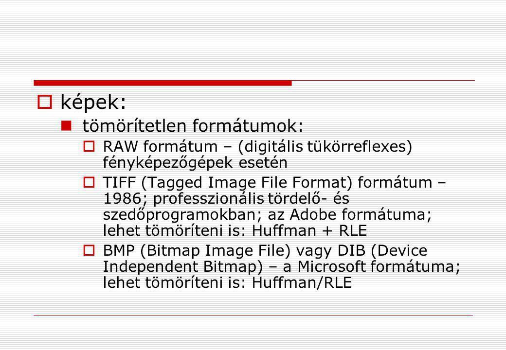  képek:  tömörítetlen formátumok:  RAW formátum – (digitális tükörreflexes) fényképezőgépek esetén  TIFF (Tagged Image File Format) formátum – 198