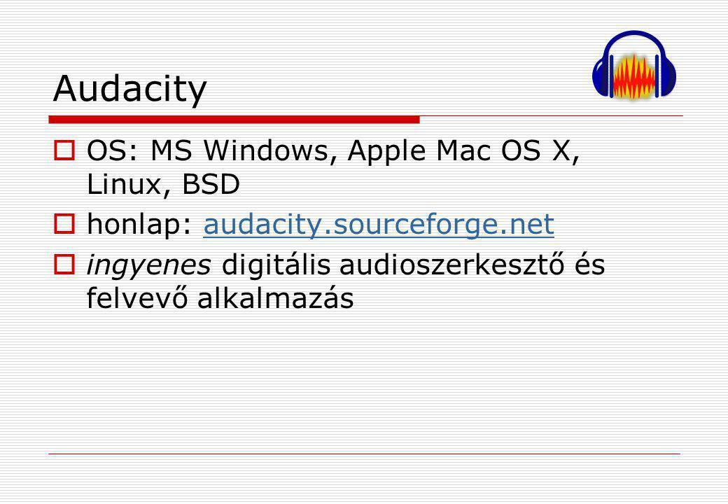 Audacity  OS: MS Windows, Apple Mac OS X, Linux, BSD  honlap: audacity.sourceforge.netaudacity.sourceforge.net  ingyenes digitális audioszerkesztő