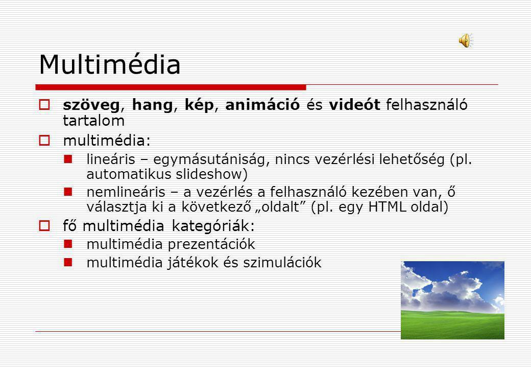 Multimédia  szöveg, hang, kép, animáció és videót felhasználó tartalom  multimédia:  lineáris – egymásutániság, nincs vezérlési lehetőség (pl. auto