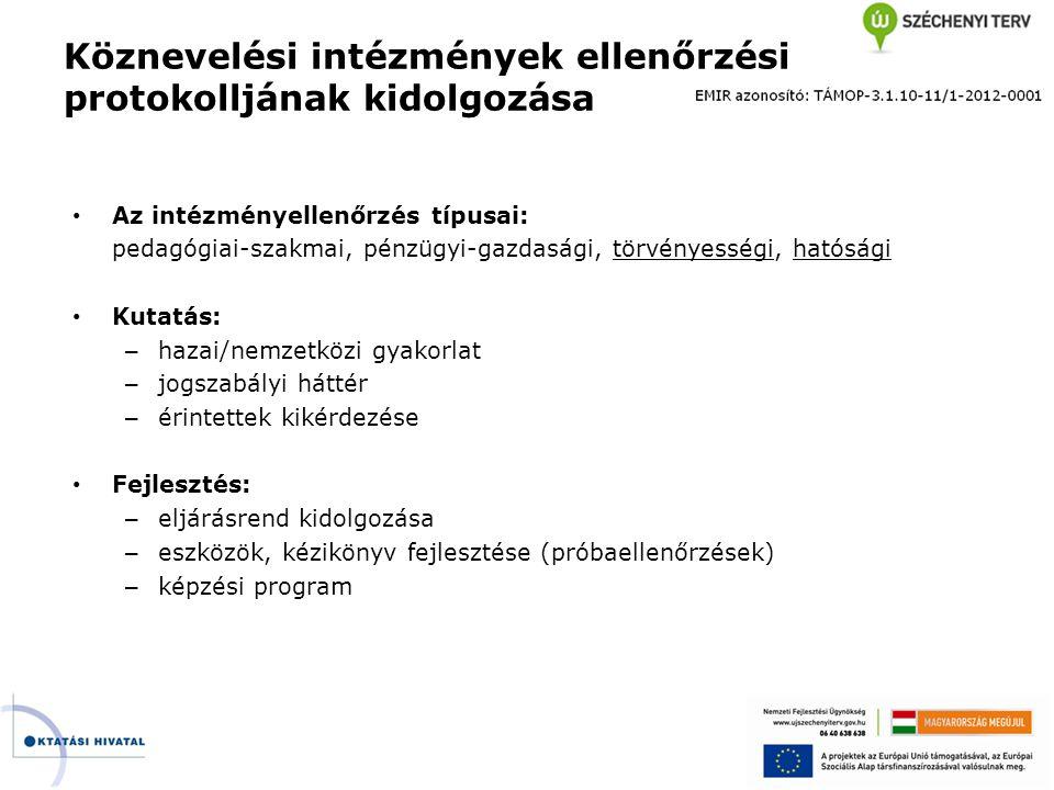 • Az intézményellenőrzés típusai: pedagógiai-szakmai, pénzügyi-gazdasági, törvényességi, hatósági • Kutatás: – hazai/nemzetközi gyakorlat – jogszabály