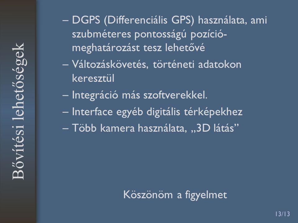13/13 –DGPS (Differenciális GPS) használata, ami szubméteres pontosságú pozíció- meghatározást tesz lehetővé –Változáskövetés, történeti adatokon keresztül –Integráció más szoftverekkel.