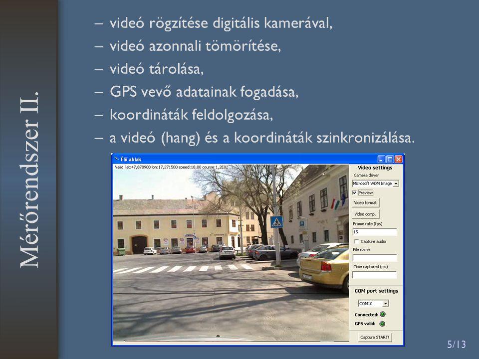 5/13 –videó rögzítése digitális kamerával, –videó azonnali tömörítése, –videó tárolása, –GPS vevő adatainak fogadása, –koordináták feldolgozása, –a videó (hang) és a koordináták szinkronizálása.