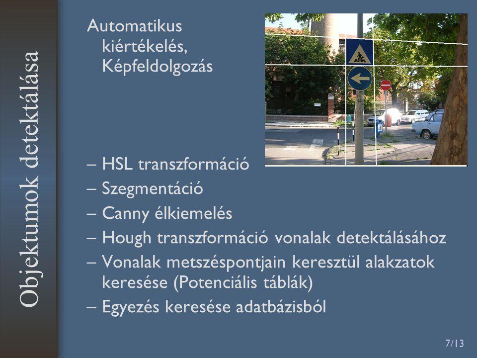 7/13 Automatikus kiértékelés, Képfeldolgozás –HSL transzformáció –Szegmentáció –Canny élkiemelés –Hough transzformáció vonalak detektálásához –Vonalak
