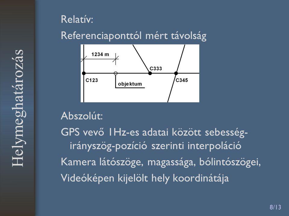 8/13 Relatív: Referenciaponttól mért távolság Abszolút: GPS vevő 1Hz-es adatai között sebesség- irányszög-pozíció szerinti interpoláció Kamera látószöge, magassága, bólintószögei, Videóképen kijelölt hely koordinátája Helymeghatározás
