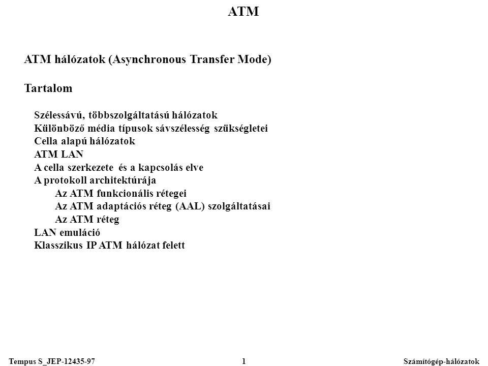 Tempus S_JEP-12435-97Számítógép-hálózatok1 ATM ATM hálózatok (Asynchronous Transfer Mode) Tartalom Szélessávú, többszolgáltatású hálózatok Különböző média típusok sávszélesség szükségletei Cella alapú hálózatok ATM LAN A cella szerkezete és a kapcsolás elve A protokoll architektúrája Az ATM funkcionális rétegei Az ATM adaptációs réteg (AAL) szolgáltatásai Az ATM réteg LAN emuláció Klasszikus IP ATM hálózat felett