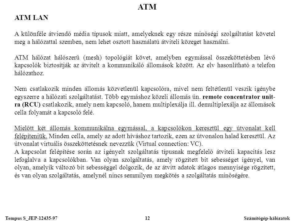 Tempus S_JEP-12435-97Számítógép-hálózatok12 ATM ATM LAN A különféle átviendő média típusok miatt, amelyeknek egy része minőségi szolgáltatást követel meg a hálózattal szemben, nem lehet osztott használatú átviteli közeget használni.