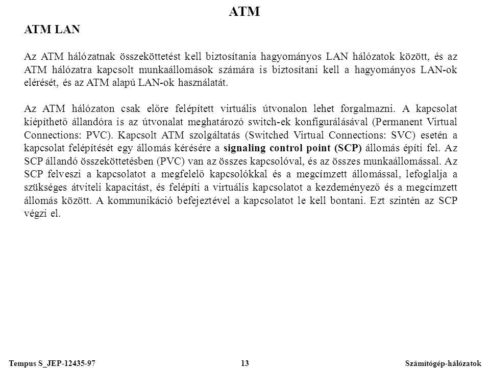 Tempus S_JEP-12435-97Számítógép-hálózatok13 ATM ATM LAN Az ATM hálózatnak összeköttetést kell biztosítania hagyományos LAN hálózatok között, és az ATM hálózatra kapcsolt munkaállomások számára is biztosítani kell a hagyományos LAN-ok elérését, és az ATM alapú LAN-ok használatát.