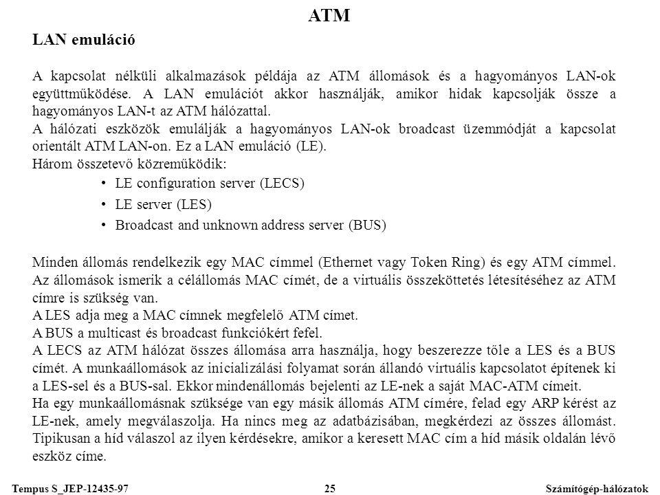 Tempus S_JEP-12435-97Számítógép-hálózatok25 ATM LAN emuláció A kapcsolat nélküli alkalmazások példája az ATM állomások és a hagyományos LAN-ok együttműködése.