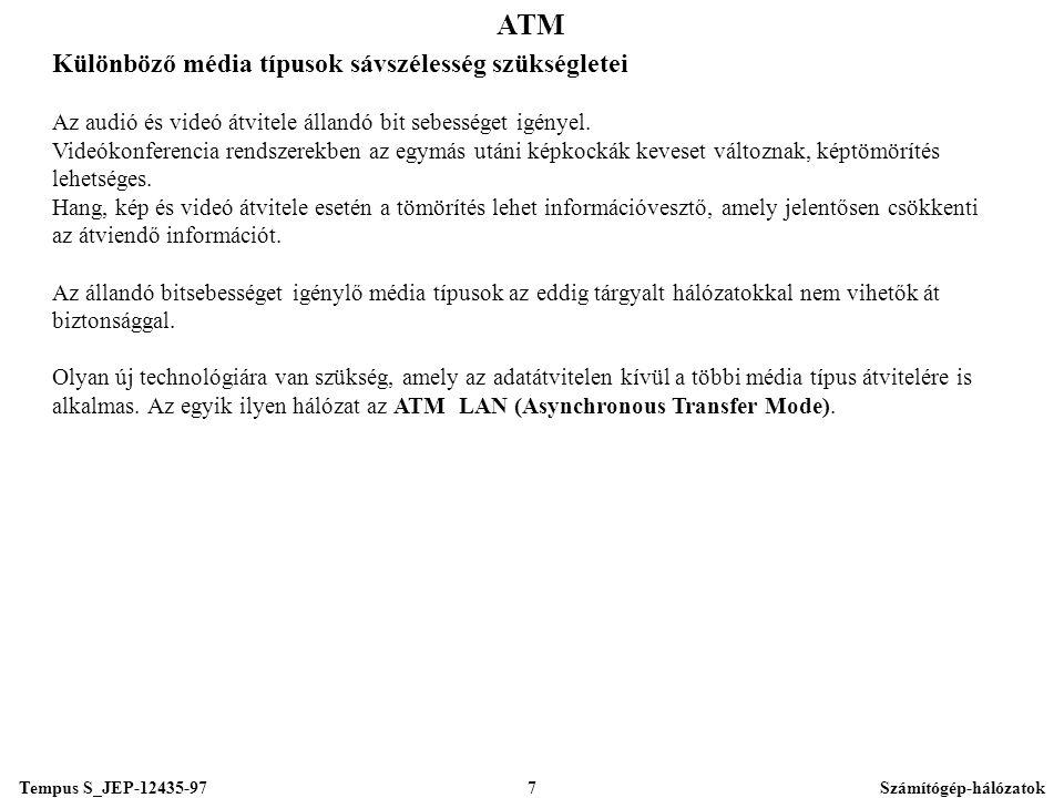 Tempus S_JEP-12435-97Számítógép-hálózatok7 ATM Különböző média típusok sávszélesség szükségletei Az audió és videó átvitele állandó bit sebességet igényel.