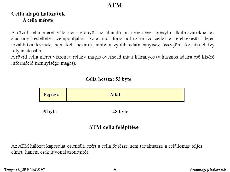 Tempus S_JEP-12435-97Számítógép-hálózatok9 ATM Fejrész 5 byte Cella hossza: 53 byte ATM cella felépítése 48 byte Adat Cella alapú hálózatok A cella mérete A rövid cella méret választása előnyös az állandó bit sebességet igénylő alkalmazásoknál az alacsony késleltetés szempontjából.