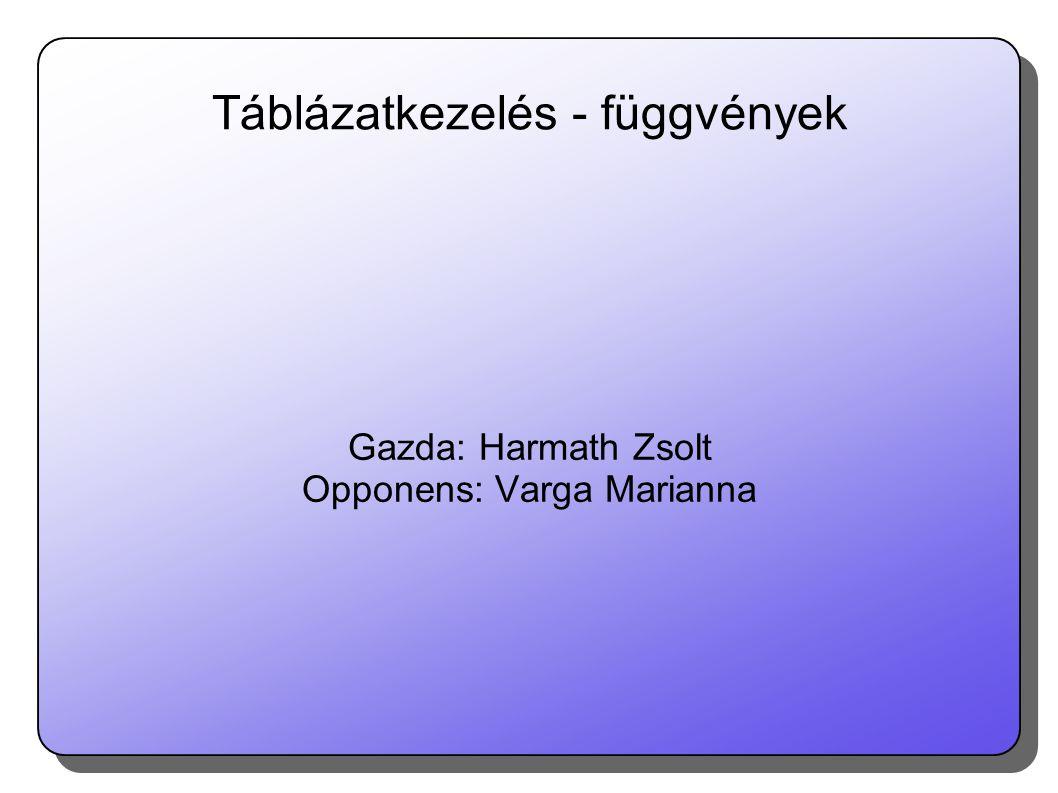 Táblázatkezelés - függvények Gazda: Harmath Zsolt Opponens: Varga Marianna