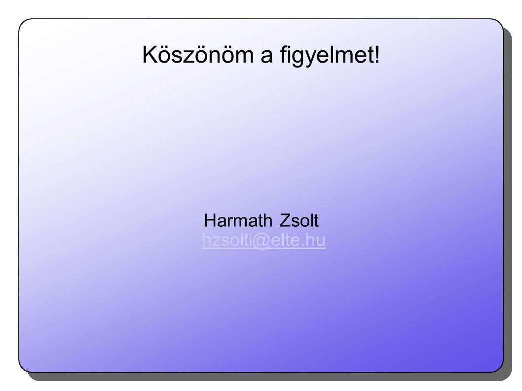 Harmath Zsolt hzsolti@elte.hu Köszönöm a figyelmet!