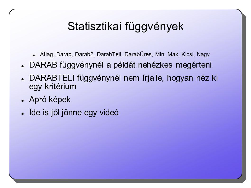 Statisztikai függvények  Átlag, Darab, Darab2, DarabTeli, DarabÜres, Min, Max, Kicsi, Nagy  DARAB függvénynél a példát nehézkes megérteni  DARABTELI függvénynél nem írja le, hogyan néz ki egy kritérium  Apró képek  Ide is jól jönne egy videó