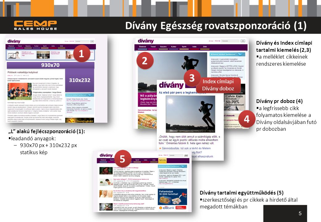 Dívány Egészség rovatszponzoráció (2) 6 6 Videós tartalmak és hirdetések (6)  min.